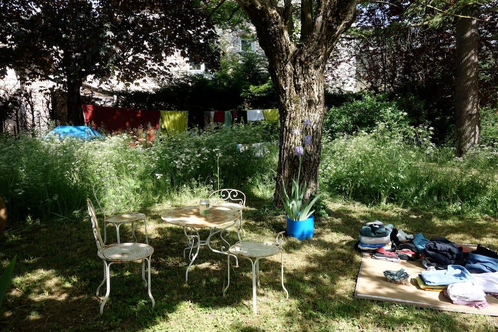 Petit salon de jardin ombragé
