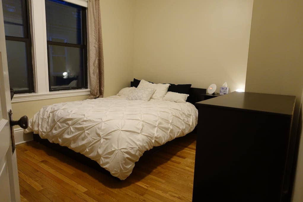 Bedroom with a alternative down comforter and a fantastic comfy queen mattress.
