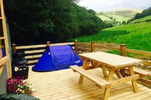 We can sleep 4 with the addition of a new two man tent on the decking
