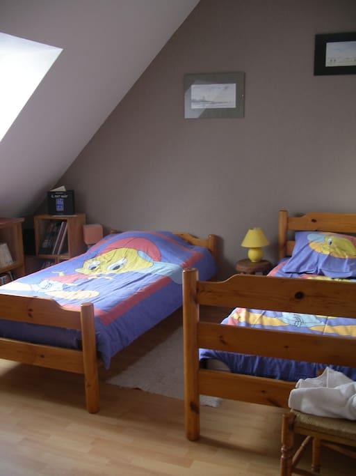 2 lits jumeaux, velux avec obturateur de lumière