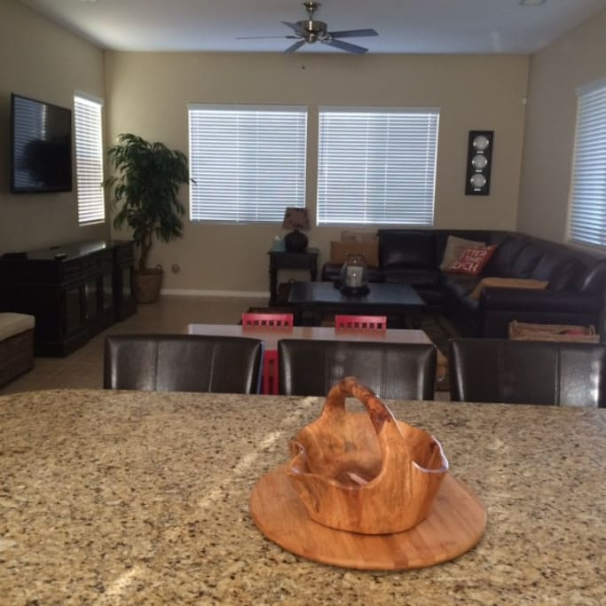 Open Floor concept with Gourmet Island Kitchen and Family Room.  Granite countertops and stainless appliances