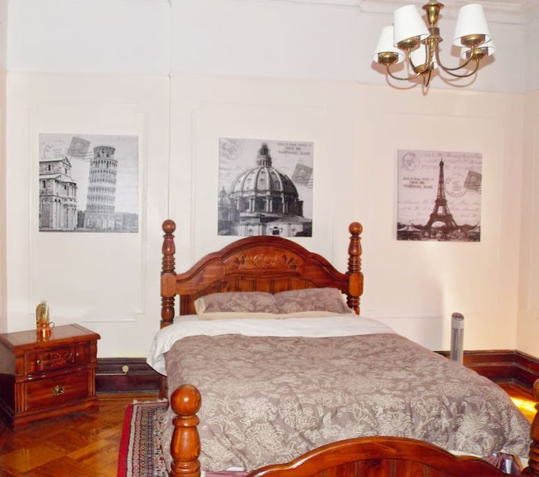 Large room comfy bed in our Home away from home@BROWNSTONE DUPLEX HOME AWAY FROM HOME