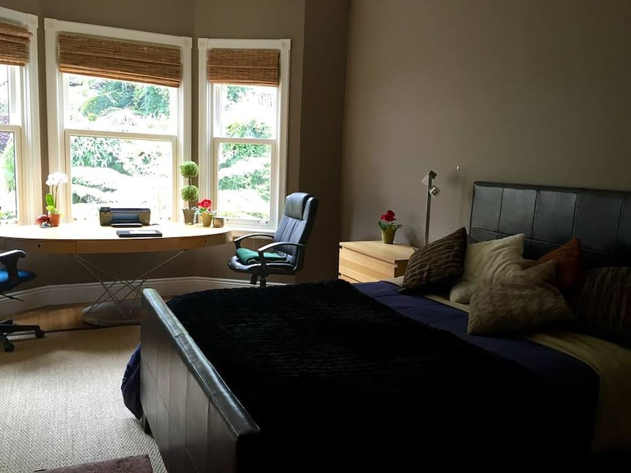 Huge room with Comfortable queen size bed and big desk.