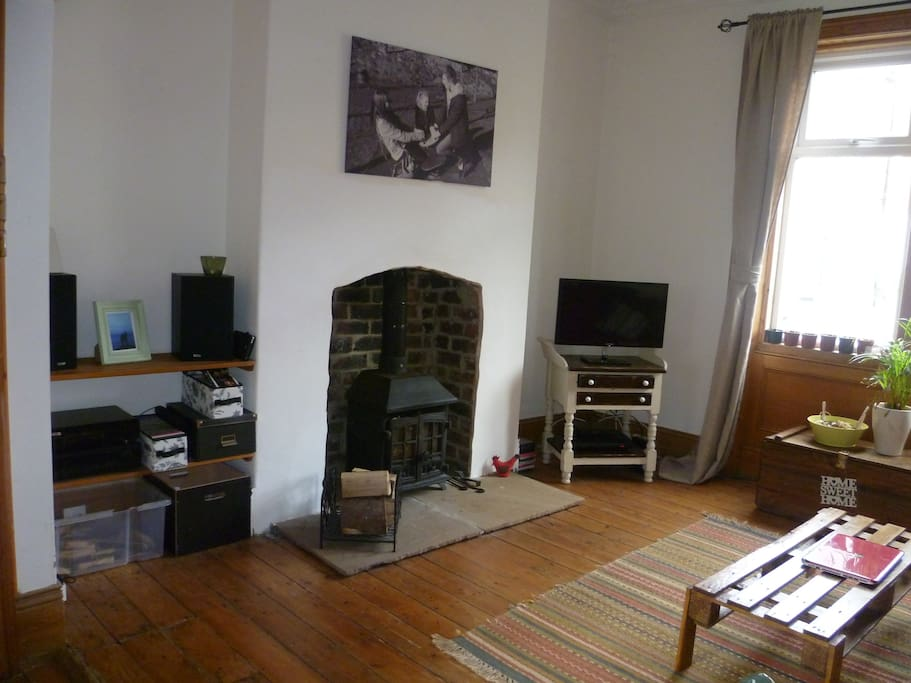 Another shot of the living room showing our wood burning stove