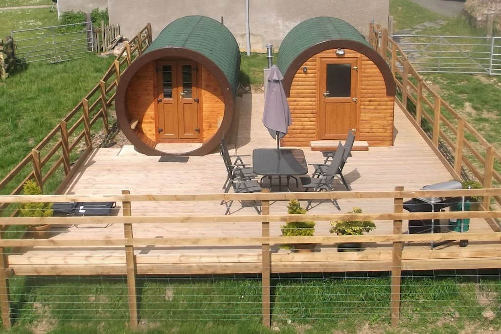Rivendell Glamping Pod and ensuite bathroom pod on large deck