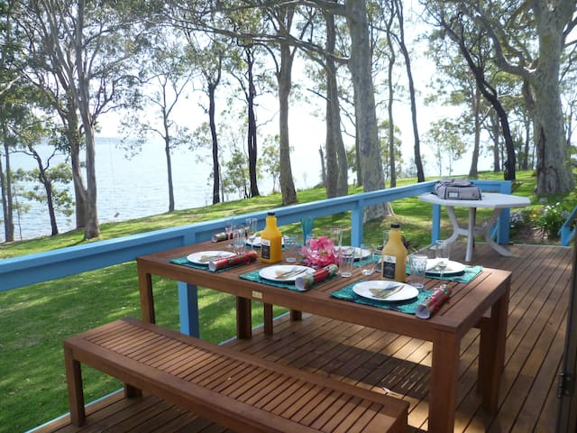 North-facing deck with 180 degree views of the lake