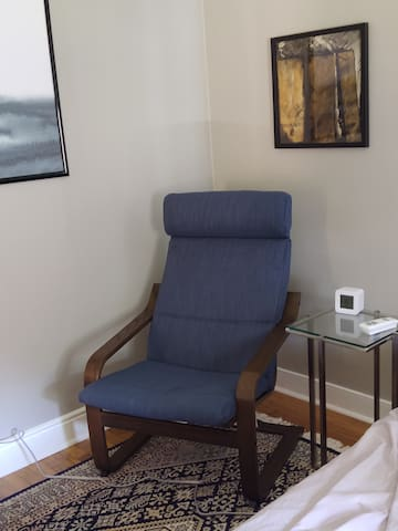 New, more comfy chair in the guest room