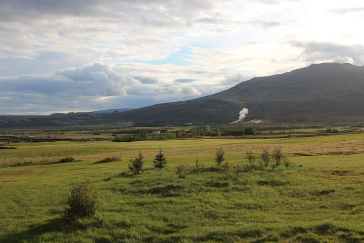 View over Geysir area from the terrace