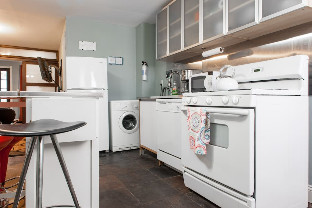Washer/dryer, dishwasher, oven, stove, microwave, coffee maker, fridge/freezer...