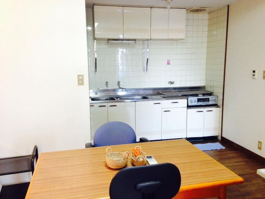 Dining with kitchen room with dining table(you can cook!)