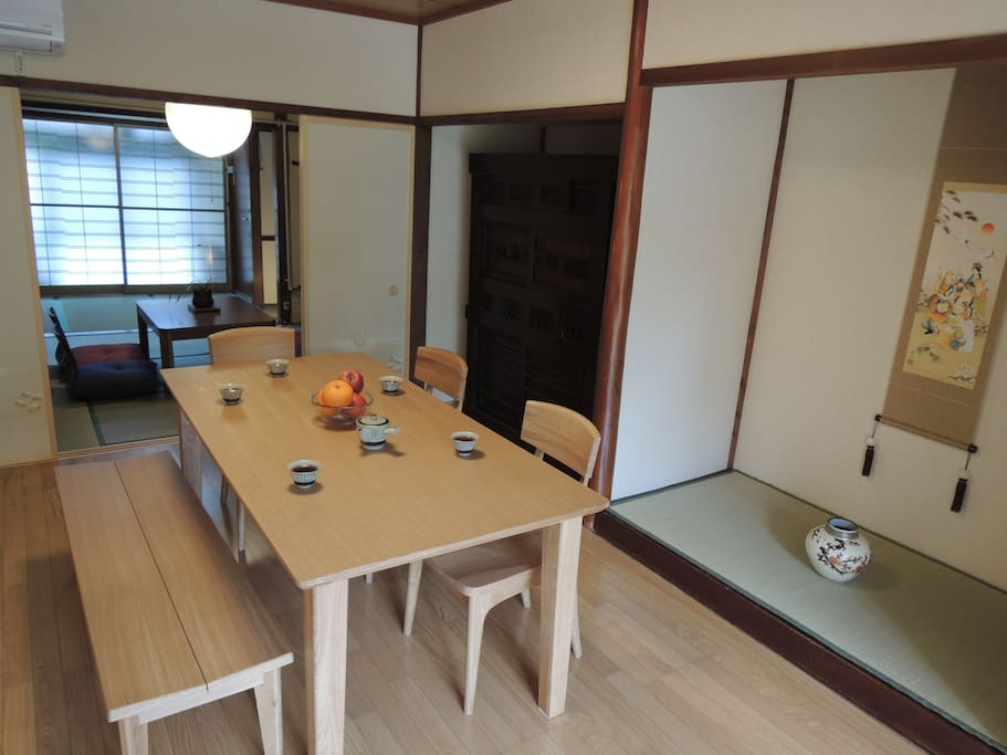 Enjoy the large wooden dinning room table.