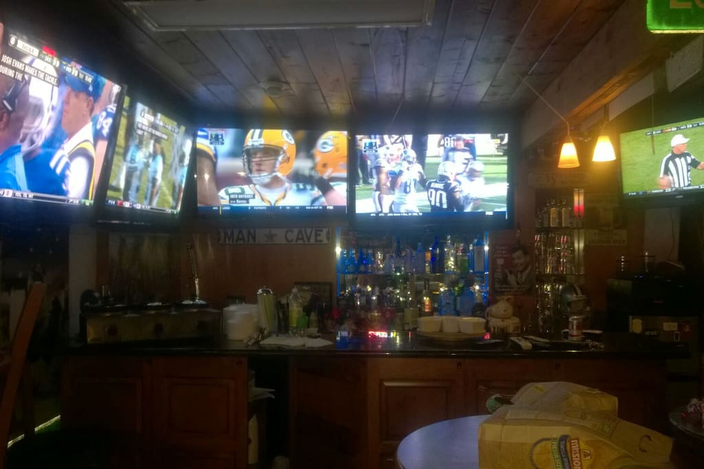 In home sports bar with pinball, billiards and more.