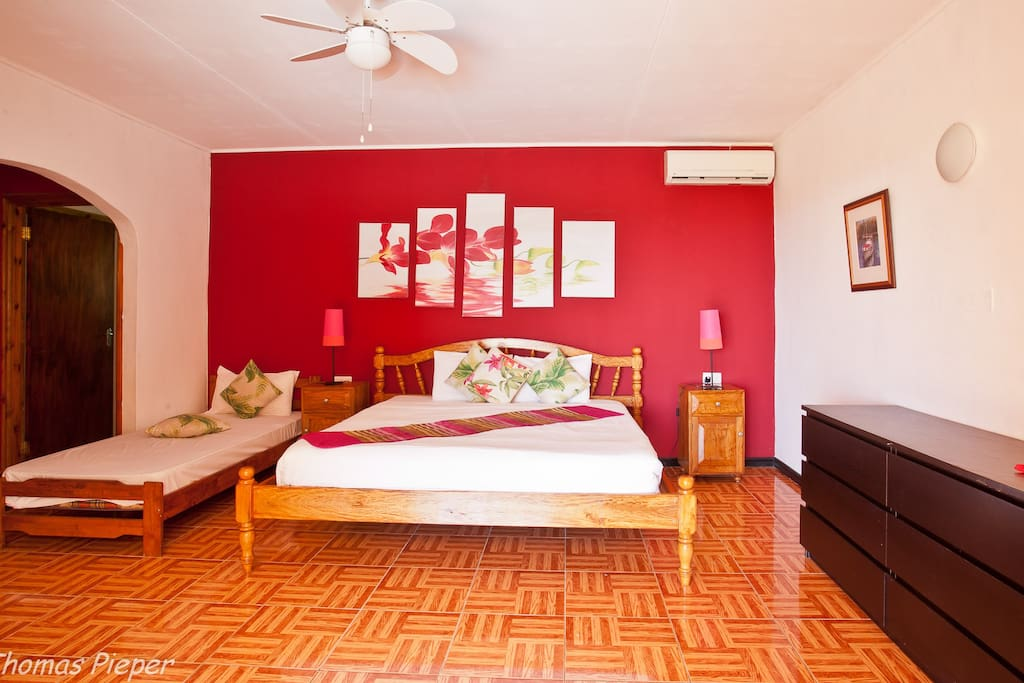 Family room with private bathroom and terrace, can accommodate family of 4