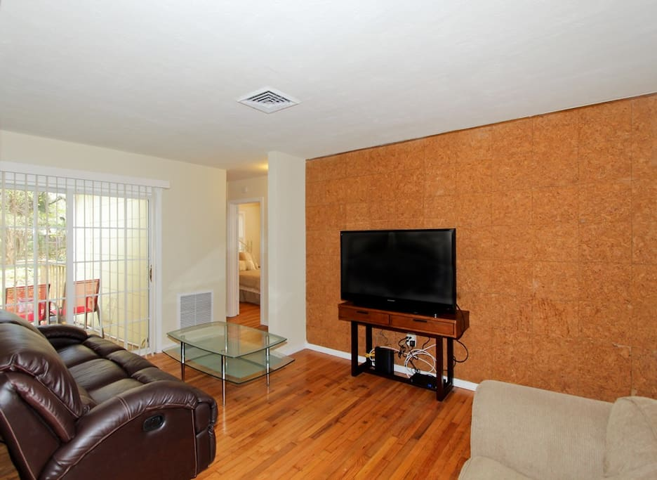 Large HDTV with Cable and Video Library