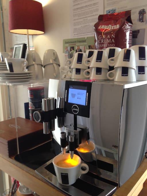 Free coffee from Jura Espresso machine. Bordine B & B Studio / GuestRoom no 1 and no 2