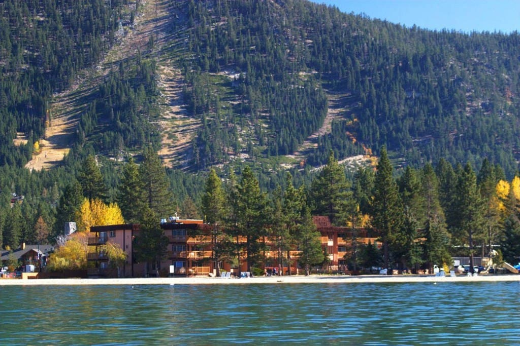 The resort seen from the lake with Heavenly ski resort as a background.