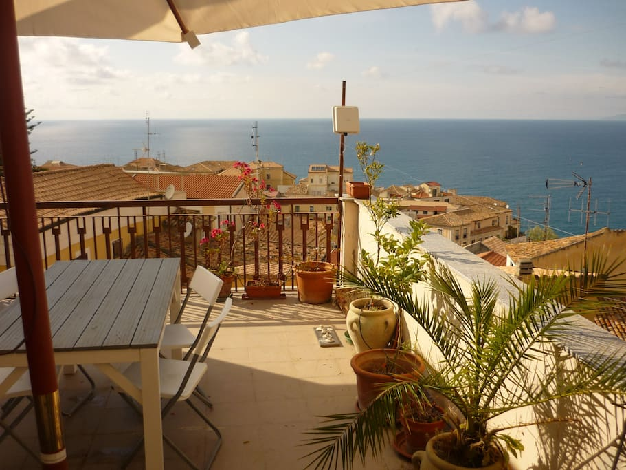 The seaview from Little Mills terrace overlooking historic Pizzo (upstairs)