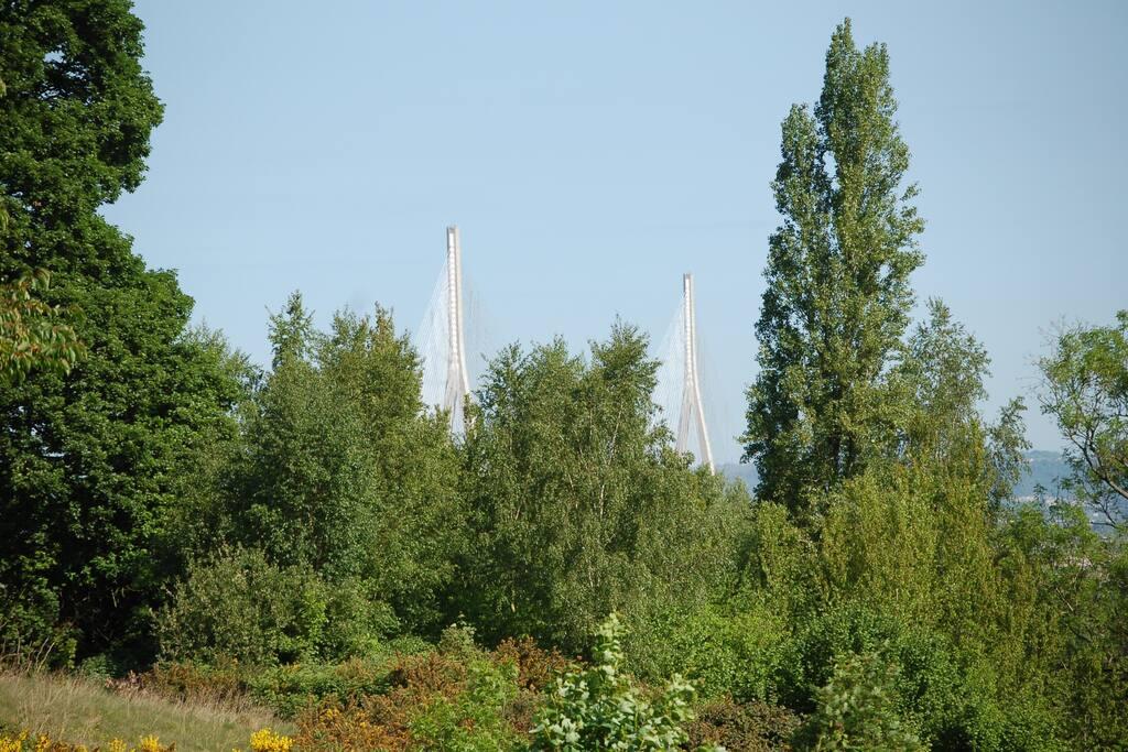 Vu du jardin sur le pont de Normandie.