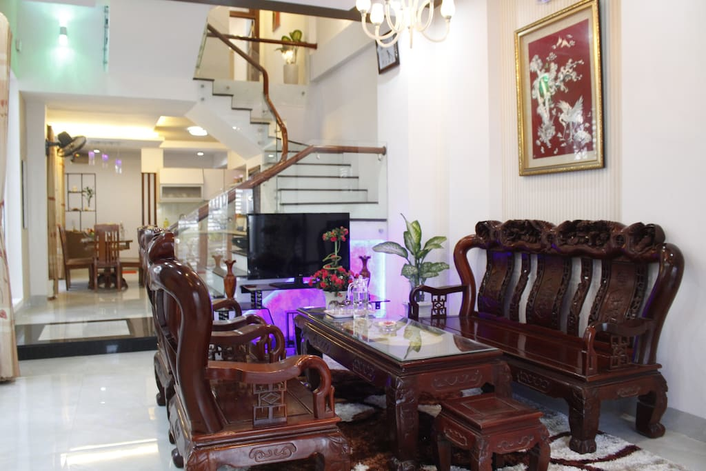 The living room with full furnitures