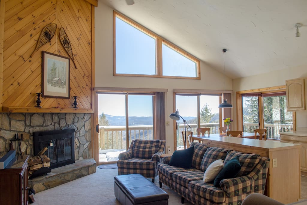 Main living space with wood burning fireplace