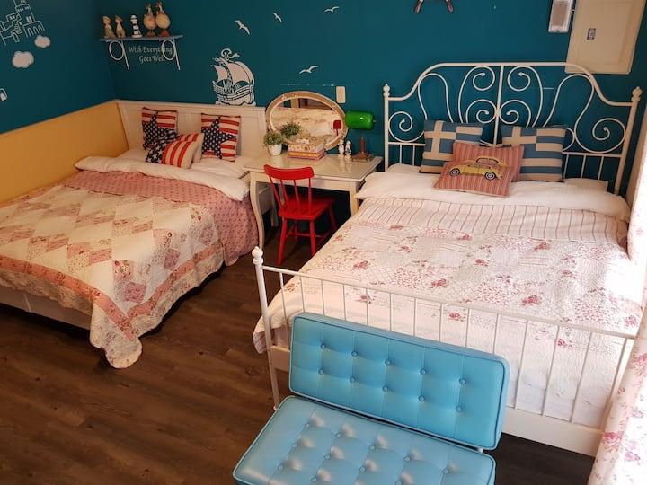 宜蘭 12 輕旅 House 希臘海洋四人房,藍藍的海洋風情