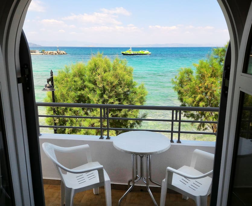 Full sea view balcony Nontas hotel, Agistri island, Saronic gulf #agistri #holidays #greece #seaview #beachfront