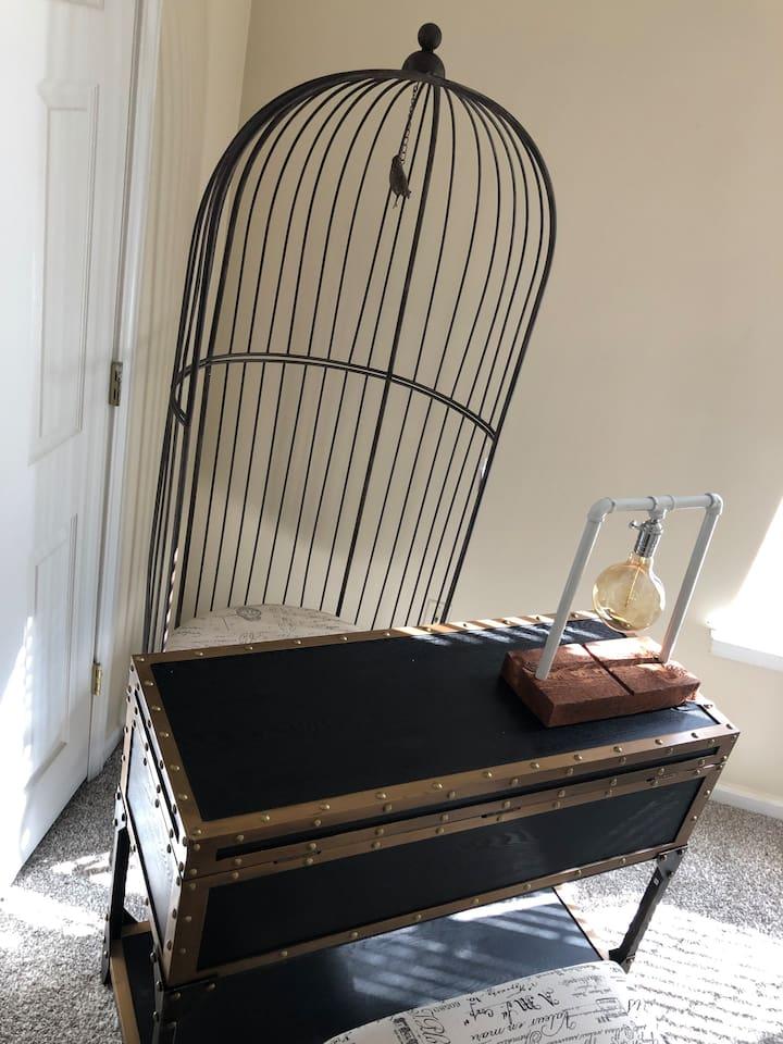 2nd Floor Desk Area - Bird Cage Chair