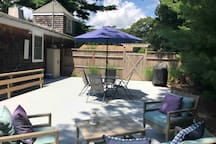You're very own private deck. Grill included. Get's full sunlight during the day.