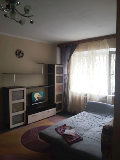В комнате имеется диван- кровать, телевизор, шкаф с плечиками для вещей, постельные пренадлежности.