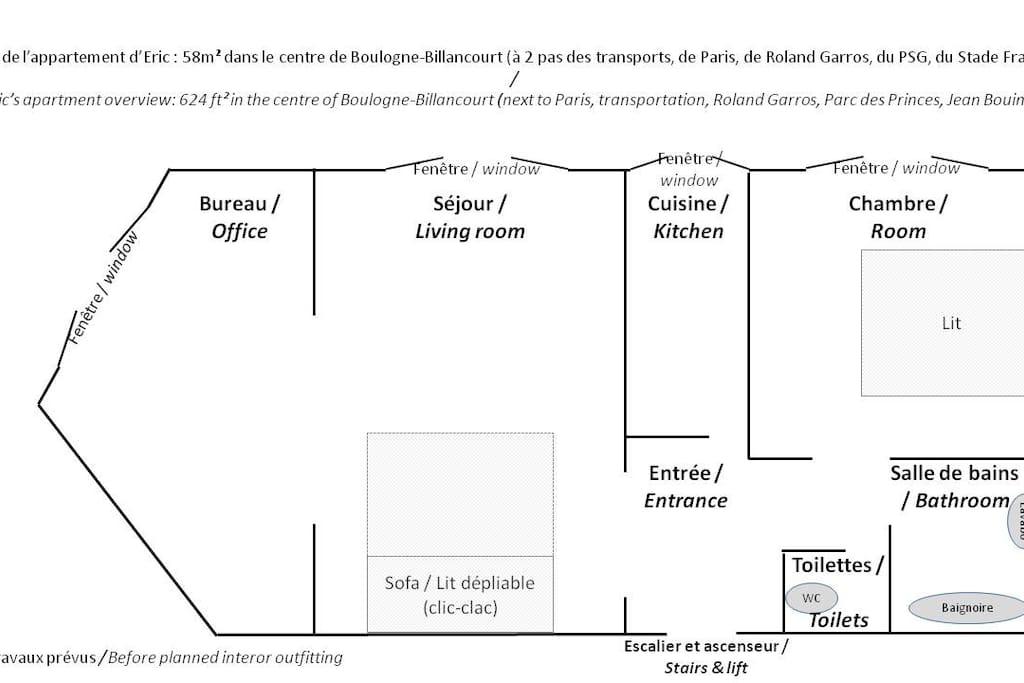 Plan appartement avant aménagement prévu s'il demeure des questions j'y répondrai volontiers