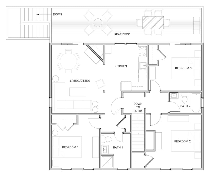 Floor plan with 3 separated bedrooms