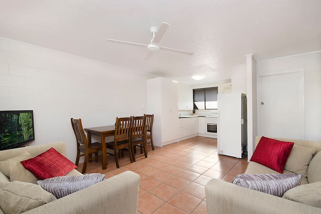 Spacious lounge, dining room with TV, DVD and free WiFi.