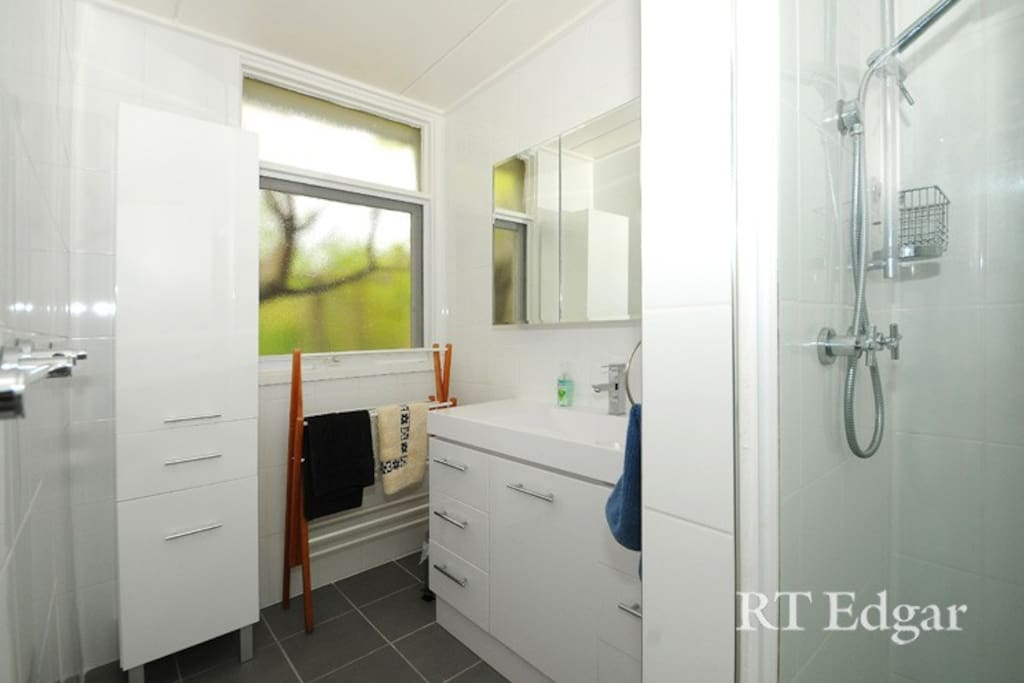 Renovated, modern bathroom
