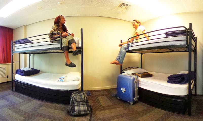 Hostel room shared with cozy people.4