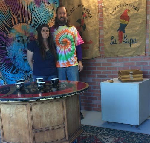 Brian and Candice in the Roaster Room.