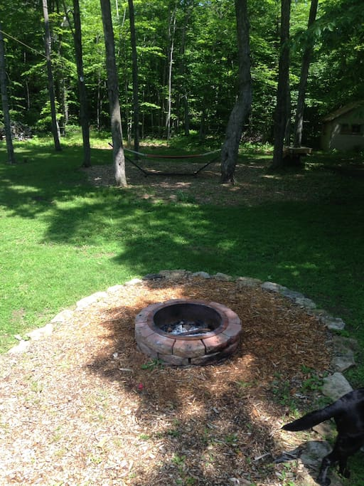 Fire pit w/hammock in backyard