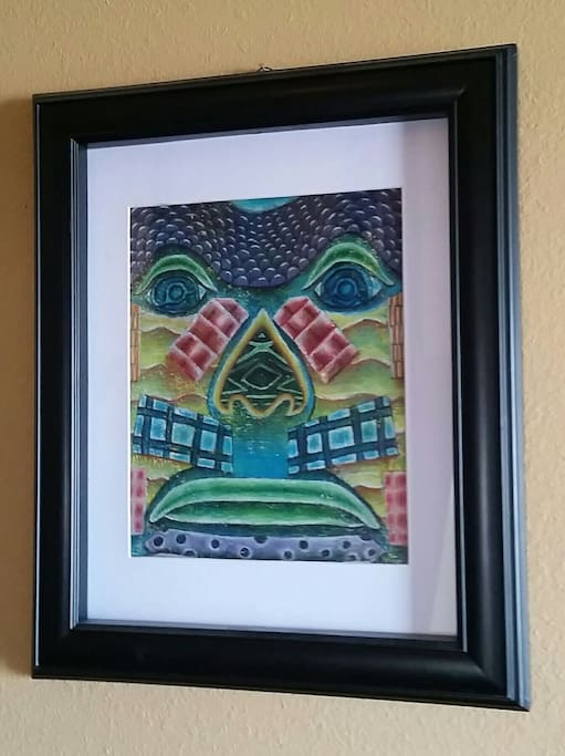"""My daughter's piece- """"Tribal Mask"""" in colored pencil"""