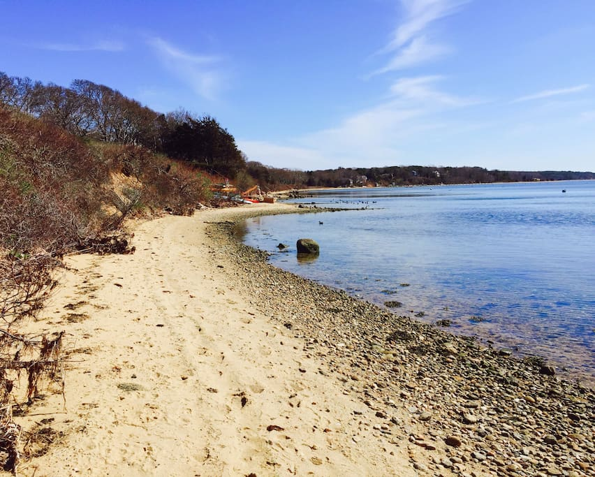 The house is steps from the picturesque Lagoon Beach. On an inlet of Martha's Vineyard, waves and rough seas aren't a worry in this protected cove!