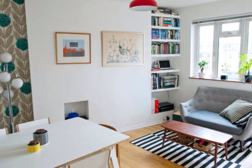Spacious and bright living room to share with host.