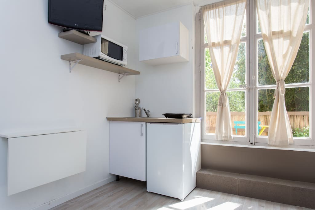 Coin cuisine avec évier, frigidaire, micro ondes, plaque à induction ainsi que tout le nécessaire pour cuisinier et manger