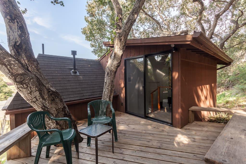 Treehouse deck in the oaks.