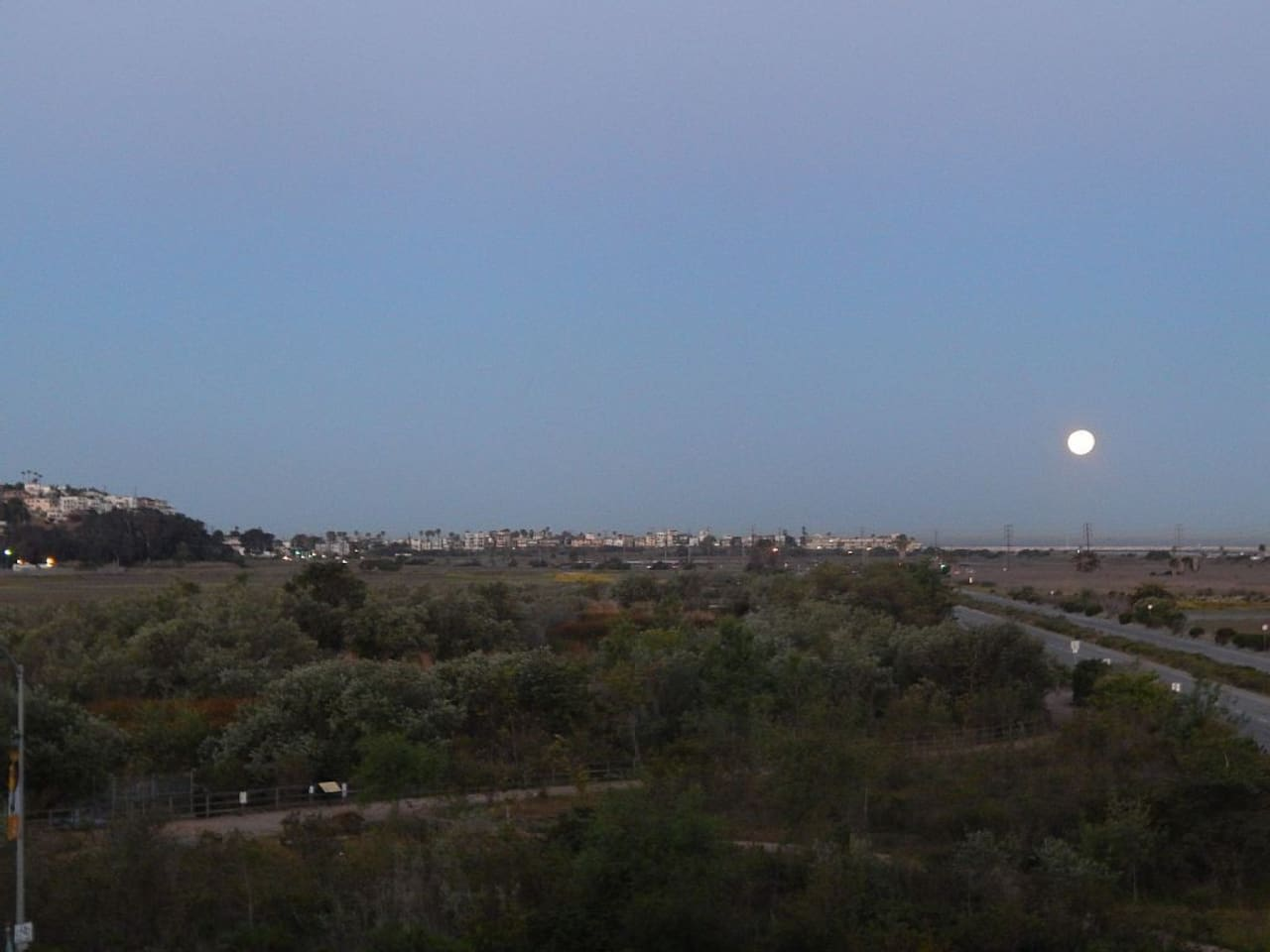View with full moon from our place