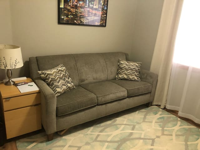 Economical clean quiet room with sofa bed.
