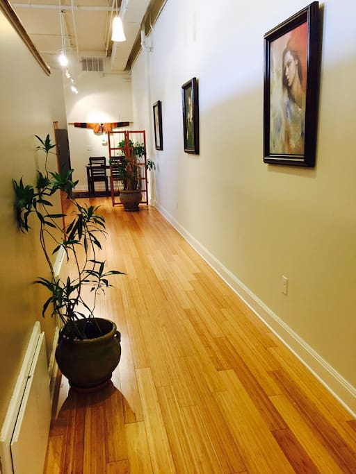 Main entrance looking towards dining area; bamboo floors