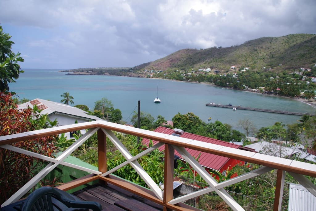 View of Laborie Bay & Caribbean Sea from balcony.