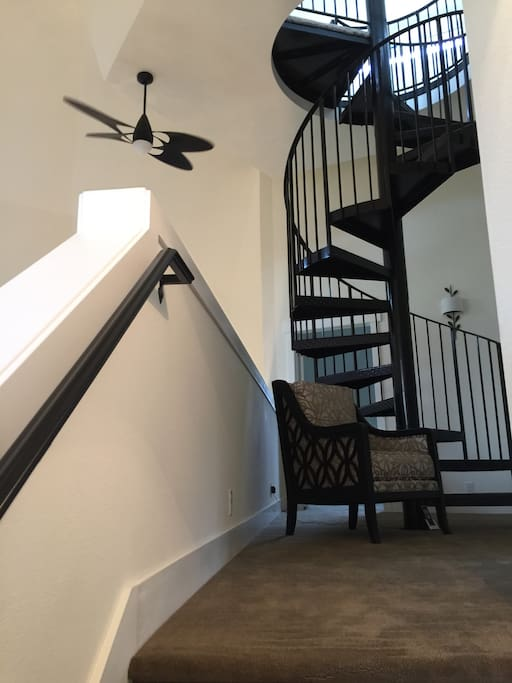 Sitting area and stairs to Cupola