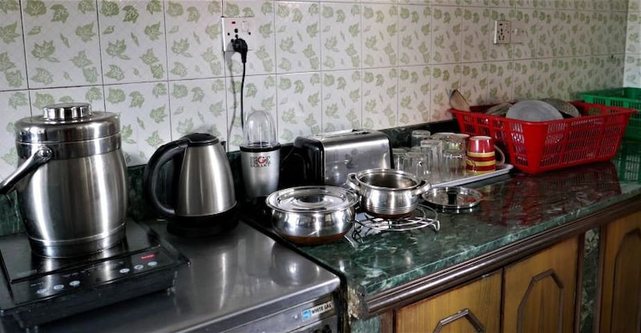 Shared, fully equipped kitchen.