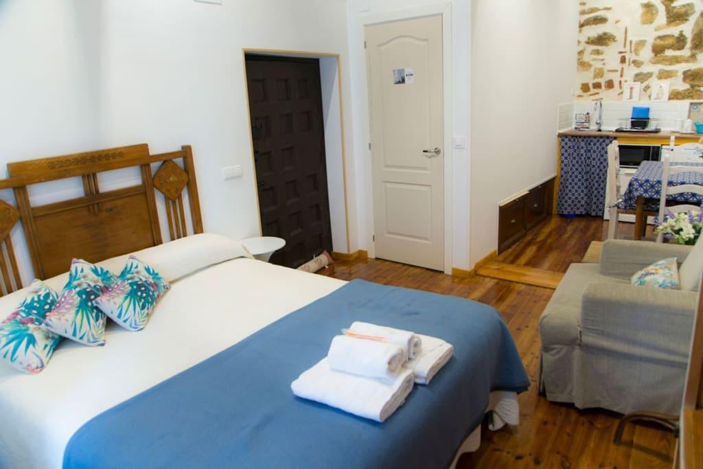 Estudio, cama 1,50 con baño y mini-cocina
