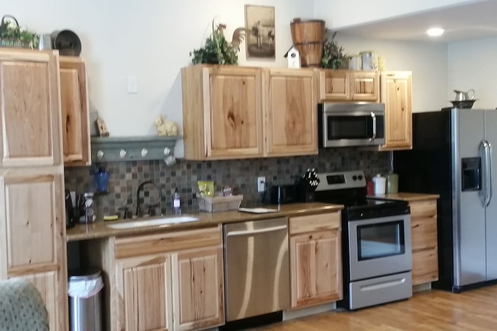 Adjoining kitchen has everything you need