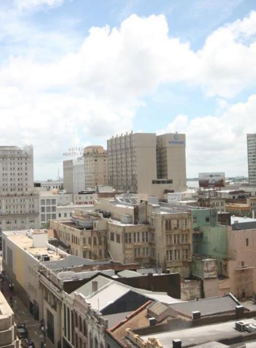 The view from your window looking east at the French Quarter.